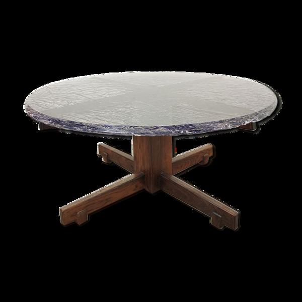 Selency Table basse vintage en résine et palissandre vers 1960