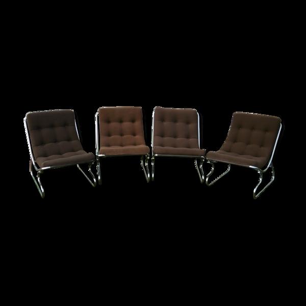 Selency Lot de 4 fauteuils tubulaire en velours marron des années 70