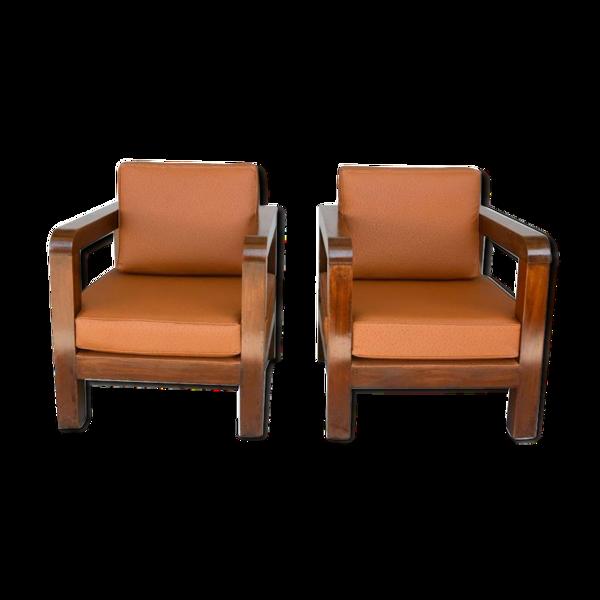 Paire de fauteuil époque 1940 simili cuir d'autruche havane