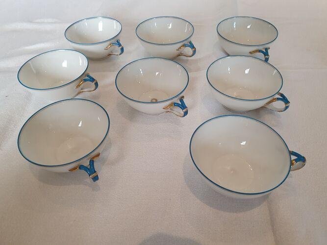 8 tasses porcelaine de Limoges Jean Pouyat début XXème