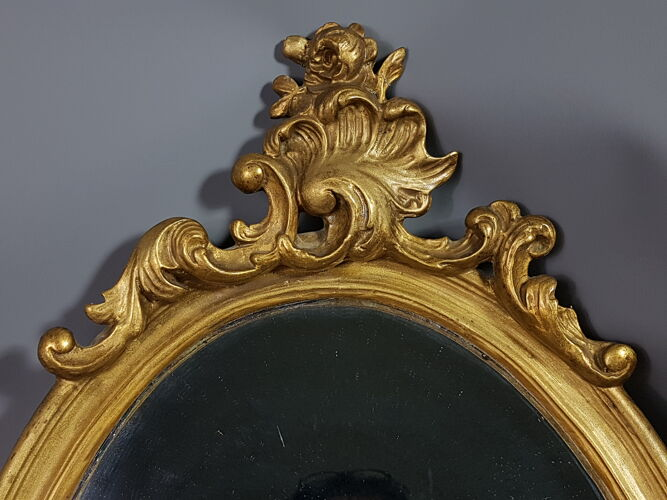 Miroir encadrement ovale XIXe style Louis XVI 54x34,5 cm. SB149