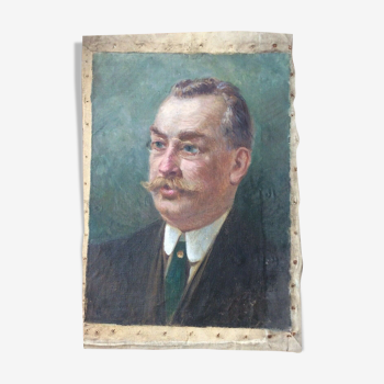 Peinture huile sur toile portrait d'homme à moustache 1900