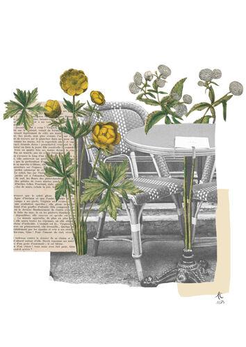 Print collage format a3 bistrot fleuri