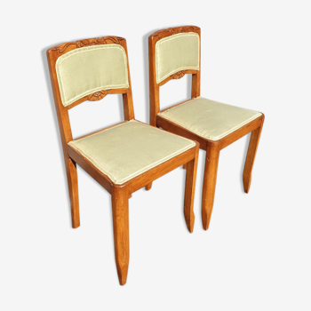Paire chaises Art Déco tissu vert pomme