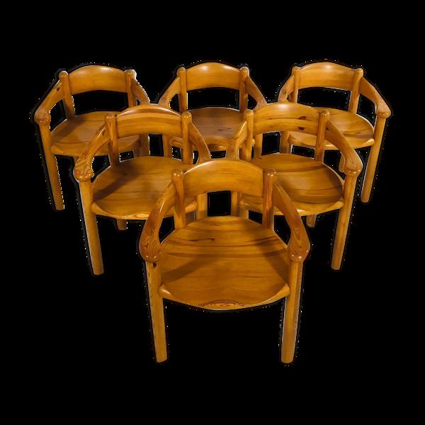 Suite de 6 chaises en pin par Rainer Daumiller, 1960's