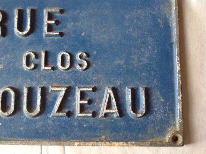 Plaque de rue ancienne en fonte fin 19 ème début 20 ème