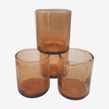 Set of 4 blown water glasses bubbled biot style