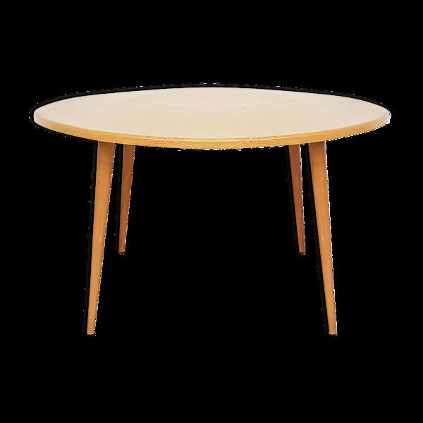 Table à manger en bois de bouleau rond, Pays-Bas des années 1950
