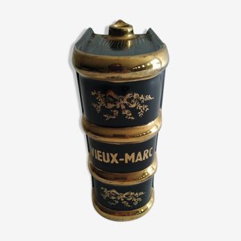 Ancienne bouteille en céramique en forme de livre