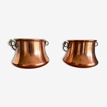 Lot de deux cache-pots en cuivre rose de Laguiole