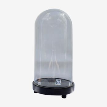Globe en verre rond 31 cm pied bois noir