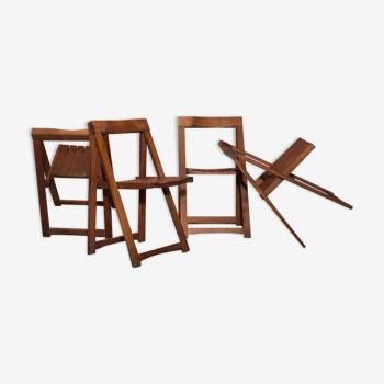 Ensemble de quatre chaises pliantes vintage Design par Aldo Jacober pour Bazzani, années 70