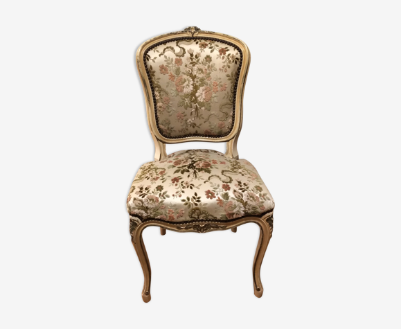 Chaise siège Louis XV couleur clair beige bois tapisserie