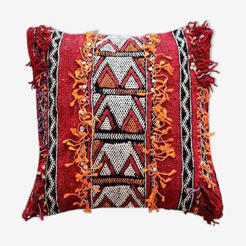 Coussin marocain berbère kilim rouge fait main 45 x 45 cm