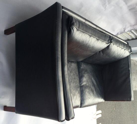 Scandinavian sofa in black leather, early 1970s