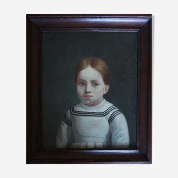 Tableau ancien portrait de petite fille aux yeux bleus huile sur toile XIXe siècle.