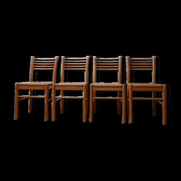 Selency Ensemble de quatre chaises en paille du milieu du siècle