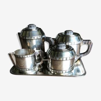 Service the café argent poinçonné et bois année 30