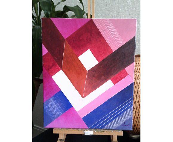 Composition abstraite, acrylique sur toile