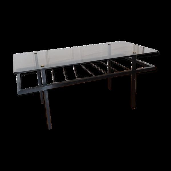 Table basse verre fumée métal porterevues