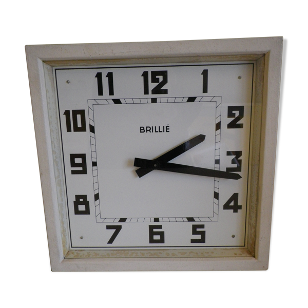 Horloge réceptrice brillé 1970 de décoration avec sa rosace en porcelaine