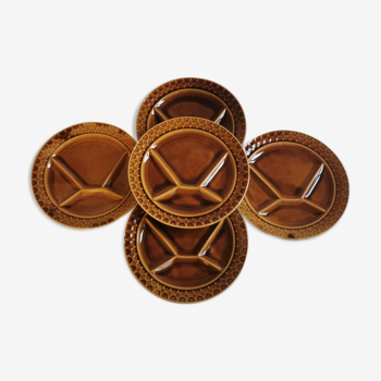 Service de 5 assiettes à raclette en faïence Sarreguemines