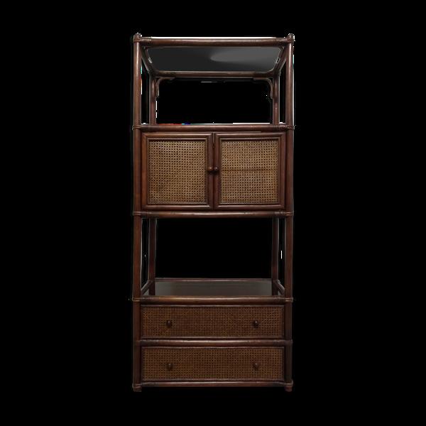Selency Etagère meuble de rangement en bambou et cannage des années 70