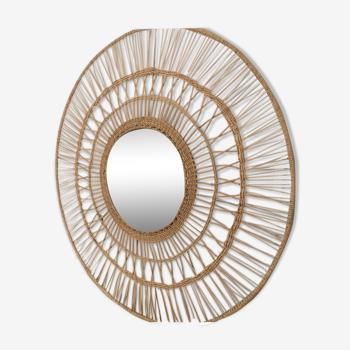 Miroir circulaire en rotin