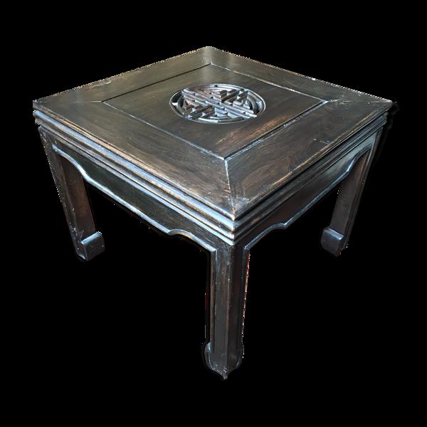 Table ethnique avec plateau en verre