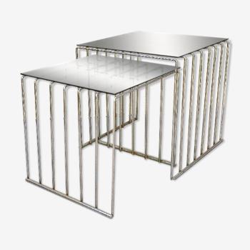 Paire de tables gigognes design 70's verre fumé
