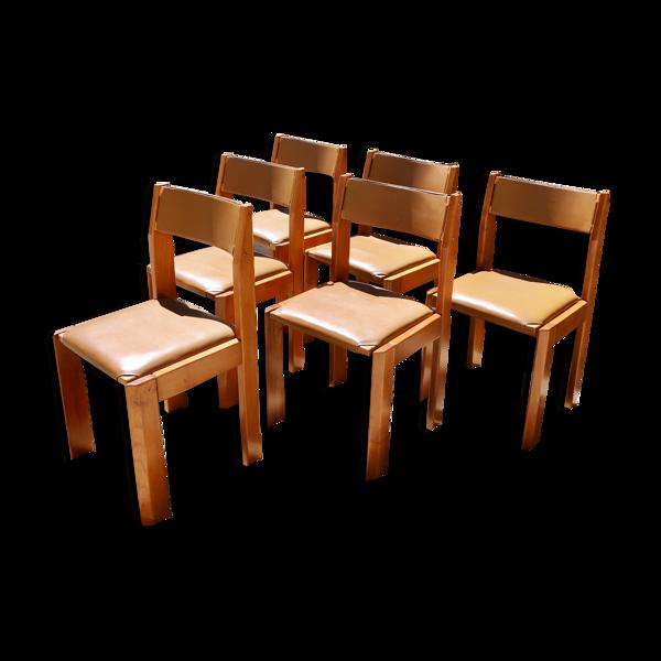 Set de 6 chaises en orme de Luigi Gorgoni 1970