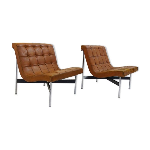 Selency Paire de deux fauteuils par William Katavolos Pour ICF Milano, 1990 Italie