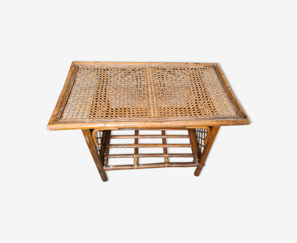 Table en rotin et bambou vintage