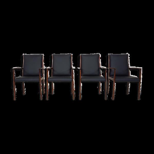 Lot de 4 fauteuils en bois de rose, Danemark 1950