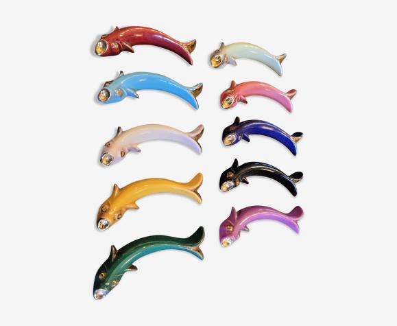 Porte couteaux poissons en porcelaine