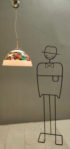 Suspension en verre soufflé blanc et couleur Murrina