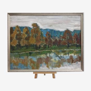 Peinture à l'huile encadrée suédoise vintage  'Réflexions en automne'