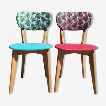 Paire de chaises vintage en hêtre massif