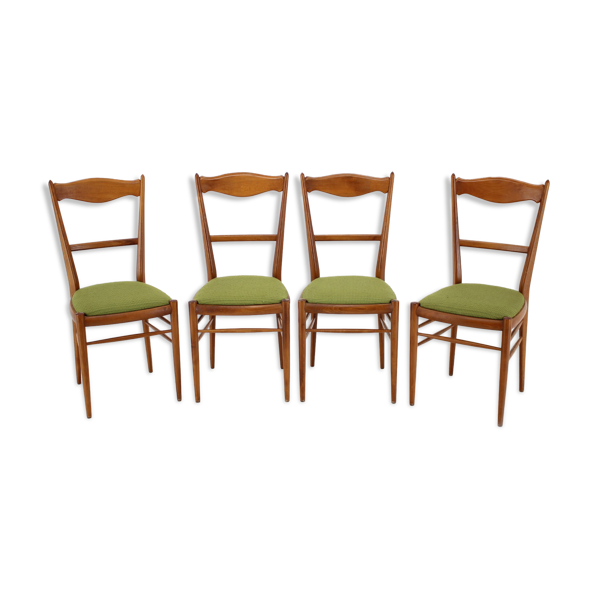 Ensemble de quatre chaises à manger de hêtre 1960