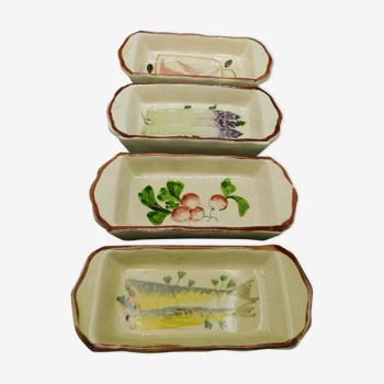 4 raviers creux de service en céramique - Anciens