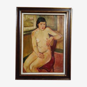 Huile sur toile tableau nu féminin Frédéric Bouvier (1901-1937 )