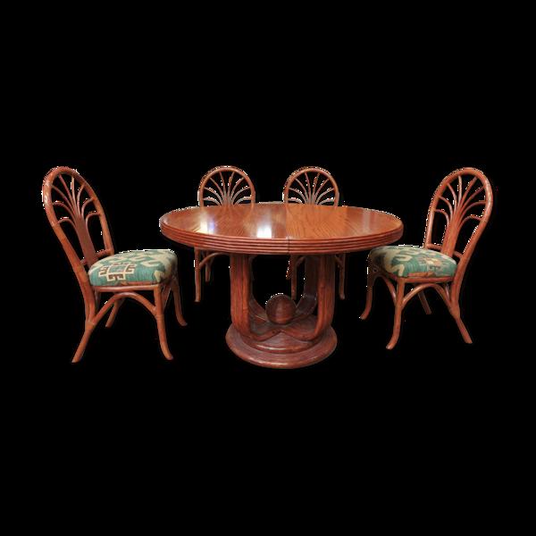 Salle a manger en orme Maugrion table ronde et 4 chaises des année 1960