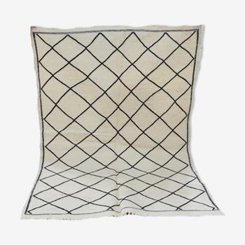 Tapis berbère marocain kilim blanc 149 x 98cm