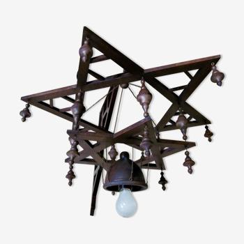 Lumination juive de synagogue en bois d'étoile de David pour le mur ou le montage de colonne unique