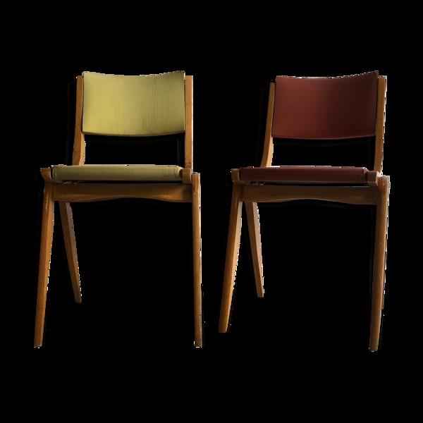 Chaises bois et simili cuir couleur