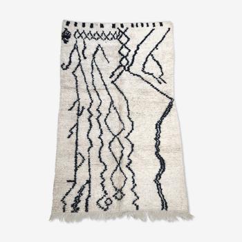 Tapis berbère marocain Azilal à motifs libres noirs 2,08x1,33m