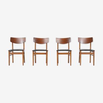Ensemble de 4 chaises vintage en teck et similicuir du milieu du siècle