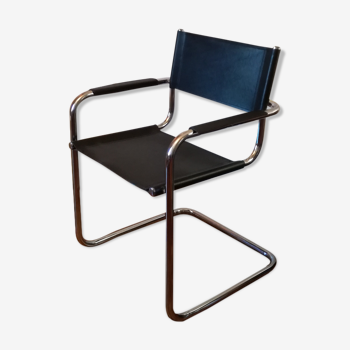 Black leather cantilever armchair