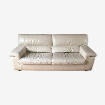 Canapé convertible 3 places cuir Steiner modèle gipsy, couleur blanc cassé 5302 (lxlxh 205x100x80)