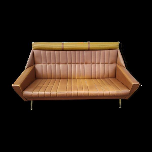 Canapé skaï marron année 60 - vintage - design